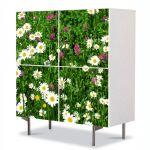 Comoda cu 4 Usi Art Work Peisaje Flori diverse, 84 x 84 cm