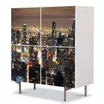 Comoda cu 4 Usi Art Work Urban Orase Zgarie norii din Chicago, 84 x 84 cm