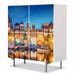 Comoda cu 4 Usi Art Work Urban Orase Lumini in Amsterdam, 84 x 84 cm