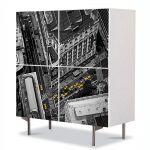 Comoda cu 4 Usi Art Work Urban Orase Strazile orasului, 84 x 84 cm