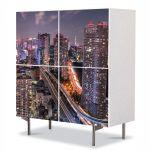 Comoda cu 4 Usi Art Work Urban Orase Venele orasului, 84 x 84 cm