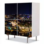 Comoda cu 4 Usi Art Work Urban Orase Cluj noaptea, 84 x 84 cm