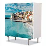 Comoda cu 4 Usi Art Work Urban Orase Oras pe coasta, 84 x 84 cm
