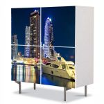 Comoda cu 4 Usi Art Work Urban Orase Dubai, 84 x 84 cm