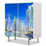Comoda cu 4 Usi Art Work Urban Orase Cladiri in Dubai, 84 x 84 cm