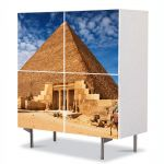 Comoda cu 4 Usi Art Work Urban Orase Piramida Egipteana, 84 x 84 cm