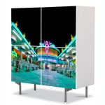 Comoda cu 4 Usi Art Work Urban Orase Lumini de noapte, 84 x 84 cm