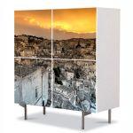 Comoda cu 4 Usi Art Work Urban Orase Deasupra orasului alb, 84 x 84 cm