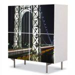 Comoda cu 4 Usi Art Work Urban Orase Podul George Washington, 84 x 84 cm