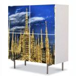 Comoda cu 4 Usi Art Work Urban Orase Cladire gotica, 84 x 84 cm
