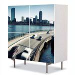 Comoda cu 4 Usi Art Work Urban Orase Autostrada suspendata, 84 x 84 cm
