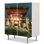 Comoda cu 4 Usi Art Work Urban Orase Templu Japonez, 84 x 84 cm