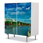 Comoda cu 4 Usi Art Work Urban Orase Kremlin Moscova, 84 x 84 cm