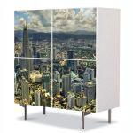 Comoda cu 4 Usi Art Work Urban Orase Kuala Lumpur de sus, 84 x 84 cm