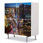 Comoda cu 4 Usi Art Work Urban Orase Bulevard in Las Vegas, 84 x 84 cm