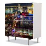 Comoda cu 4 Usi Art Work Urban Orase Nordul Las Vegas ului, 84 x 84 cm