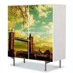 Comoda cu 4 Usi Art Work Urban Orase Podul din Londra, 84 x 84 cm
