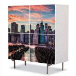Comoda cu 4 Usi Art Work Urban Orase New York la apus, 84 x 84 cm