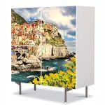 Comoda cu 4 Usi Art Work Urban Orase Oras la mare, 84 x 84 cm