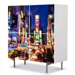 Comoda cu 4 Usi Art Work Urban Orase Noaptea prin New york, 84 x 84 cm