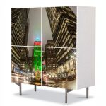 Comoda cu 4 Usi Art Work Urban Orase Craciunul la New York, 84 x 84 cm