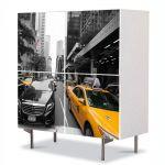 Comoda cu 4 Usi Art Work Urban Orase Cu taxi ul in New York, 84 x 84 cm