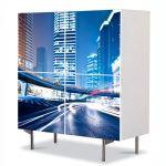 Comoda cu 4 Usi Art Work Urban Orase Trafic de noapte, 84 x 84 cm