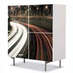 Comoda cu 4 Usi Art Work Urban Orase Luminile traficului, 84 x 84 cm