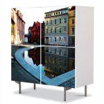 Comoda cu 4 Usi Art Work Urban Orase Granita Suedia si Norvegia, 84 x 84 cm