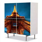 Comoda cu 4 Usi Art Work Urban Orase Parisul noaptea si Turnul Eiffel, 84 x 84 cm