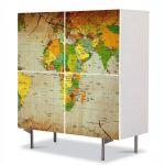 Comoda cu 4 Usi Art Work Urban Orase Harta politica a lumii, 84 x 84 cm