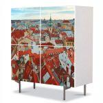 Comoda cu 4 Usi Art Work Urban Orase Praga, 84 x 84 cm