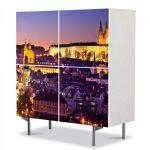 Comoda cu 4 Usi Art Work Urban Orase Orasul Praga, 84 x 84 cm