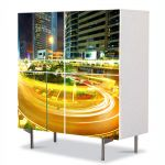 Comoda cu 4 Usi Art Work Urban Orase Curba luminata, 84 x 84 cm