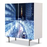 Comoda cu 4 Usi Art Work Urban Orase Lumini albastre in Tokyo, 84 x 84 cm