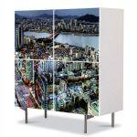 Comoda cu 4 Usi Art Work Urban Orase Seoul Coreea de Sud, 84 x 84 cm