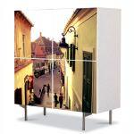 Comoda cu 4 Usi Art Work Urban Orase In Sighisoara Romania, 84 x 84 cm