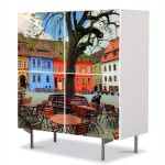 Comoda cu 4 Usi Art Work Urban Orase Centrul Sighisoarei, 84 x 84 cm