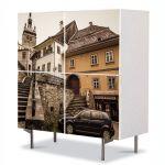 Comoda cu 4 Usi Art Work Urban Orase Turnul cu ceas din Sighisoara, 84 x 84 cm