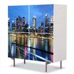 Comoda cu 4 Usi Art Work Urban Orase Singapore, 84 x 84 cm