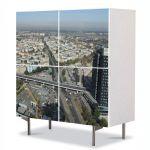 Comoda cu 4 Usi Art Work Urban Orase Skytower Bucuresti Panorama, 84 x 84 cm