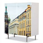 Comoda cu 4 Usi Art Work Urban Orase St Petersburg Russia, 84 x 84 cm