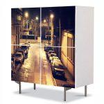 Comoda cu 4 Usi Art Work Urban Orase Strada in noapte, 84 x 84 cm