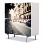 Comoda cu 4 Usi Art Work Urban Orase Strada in Italia, 84 x 84 cm