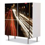 Comoda cu 4 Usi Art Work Urban Orase In miscare, 84 x 84 cm