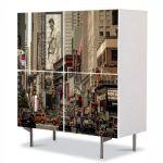 Comoda cu 4 Usi Art Work Urban Orase Rascruce de drumuri, 84 x 84 cm