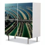 Comoda cu 4 Usi Art Work Urban Orase Insula palmier Dubai, 84 x 84 cm