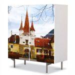 Comoda cu 4 Usi Art Work Urban Orase Poarta Ecaterina in Brasov, 84 x 84 cm