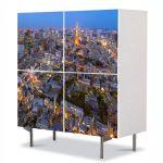 Comoda cu 4 Usi Art Work Urban Orase Tokyo la apus, 84 x 84 cm