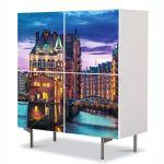 Comoda cu 4 Usi Art Work Urban Orase Calatorie in Europa, 84 x 84 cm